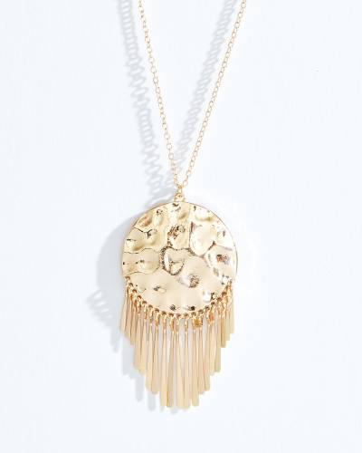 Exclusive Gold Metal Fringe Disc Necklace