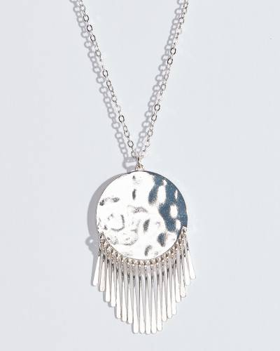 Exclusive Silver Metal Fringe Disc Necklace