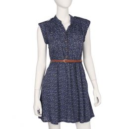 Angie Navy Floral Dress with Belt