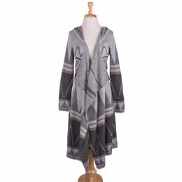 Cecico Hooded Aztec Print Long Cardigan