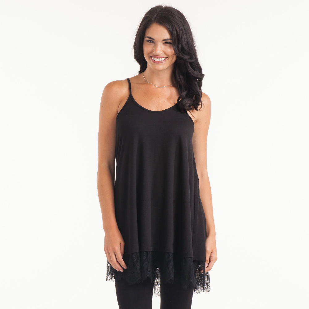 Cecico Long Lace Trimmed Tank