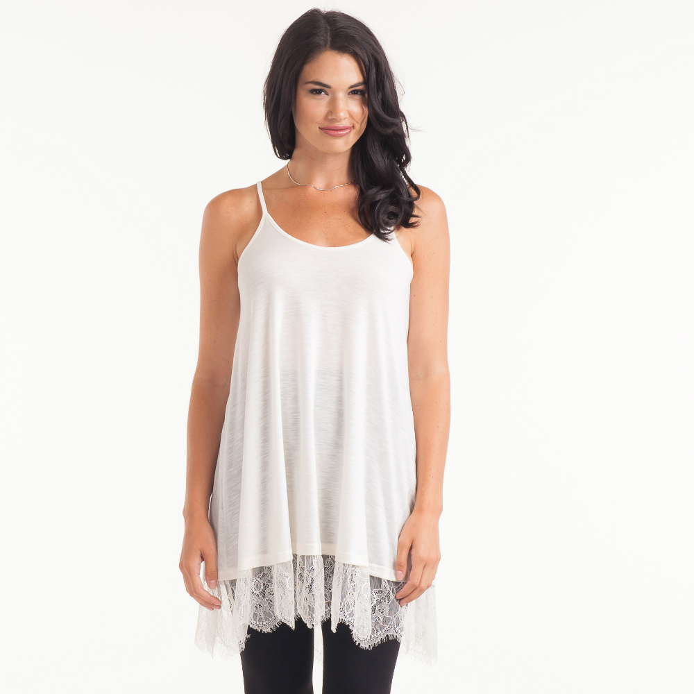 Cecico Ivory Long Lace Trimmed Tank