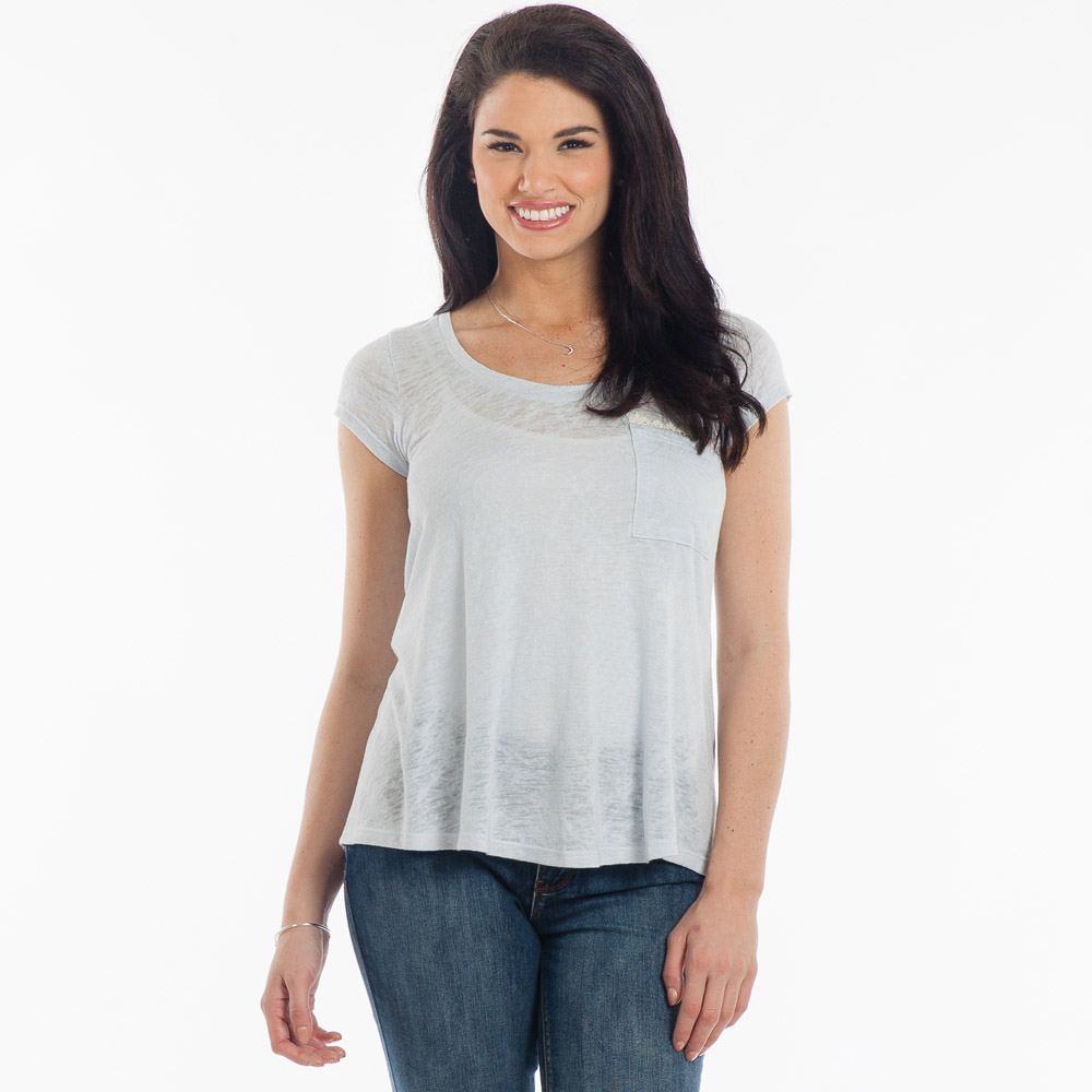 Cecico Crochet-Trim Slub Tee in Light Blue