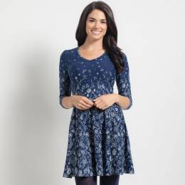 Mia + Tess Designs ™ Blue Floral Fit and Flare Dress