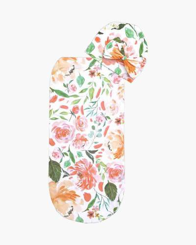 Peach Floral Cocoon and Hat Set