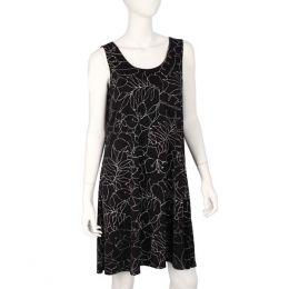 Pretty Woman Fashion Black and White Leaves Tank Dress