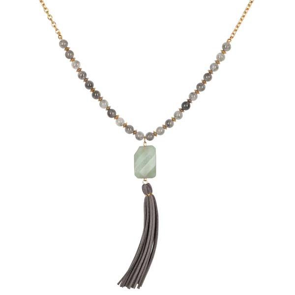 Mia and Tess Faux Suede Tassel and Stone Necklace