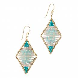 Mia and Tess Beaded Diamond Shape Earrings