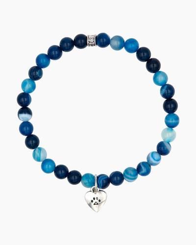 Silver Heart Paw Charm Blue Beaded Bracelet