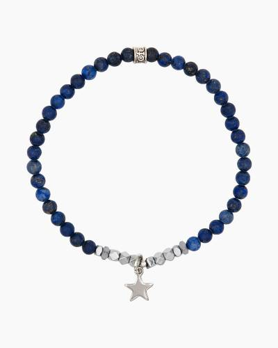 Silver Star Charm Blue Beaded Bracelet