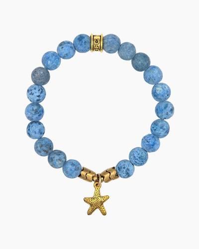 Gold Starfish Charm Blue Beaded Bracelet