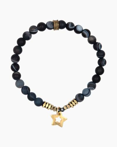 Gold Star Charm Coal Beaded Bracelet