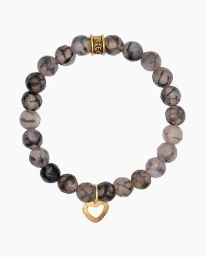 Gold Heart Charm Pink Marble Beaded Bracelet