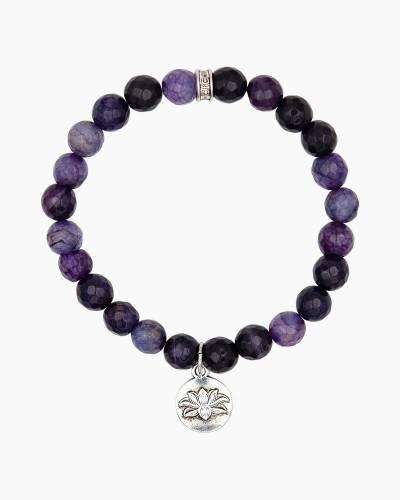 Silver Lotus Charm Grape Beaded Bracelet