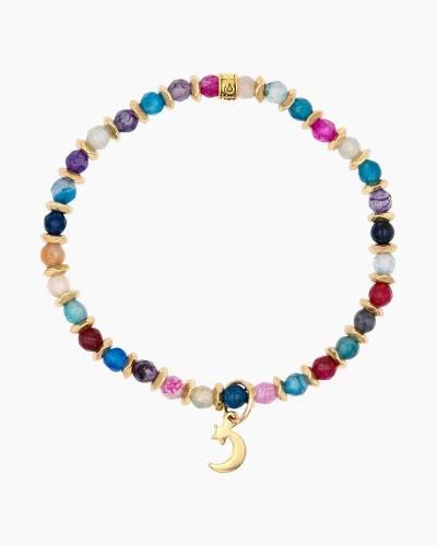 Gold Moon Charm Tie-Dye Beaded Bracelet