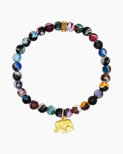 Gold Elephant Charm Wildberry Beaded Bracelet