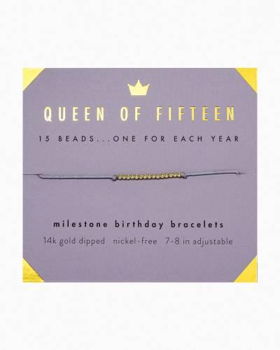 Queen of Fifteen Birthday Milestone Bracelet