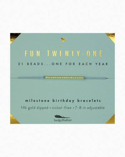 Fun Twenty-One Birthday Milestone Bracelet