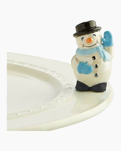 mini Snowman Blue Platter Ornament