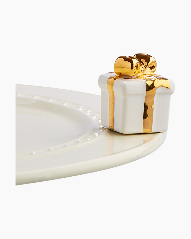 nora fleming mini White and Gold Gift Platter Ornament
