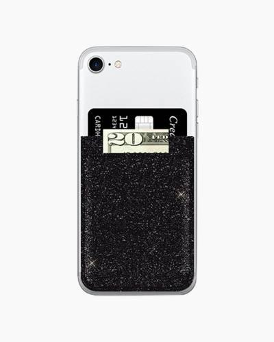 Phone Pocket in Black Glitter