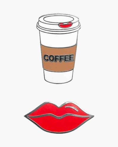 Coffee and Lips Phone Charms Set