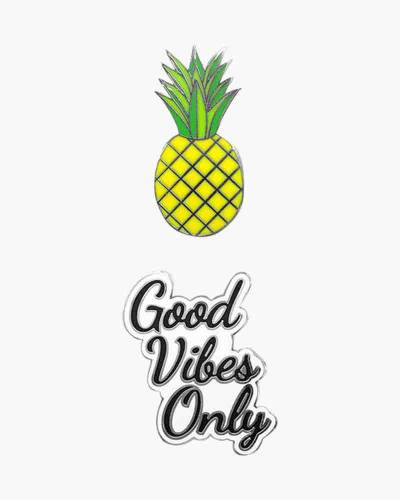 Good Vibes Only and Pineapple Phone Charms Set