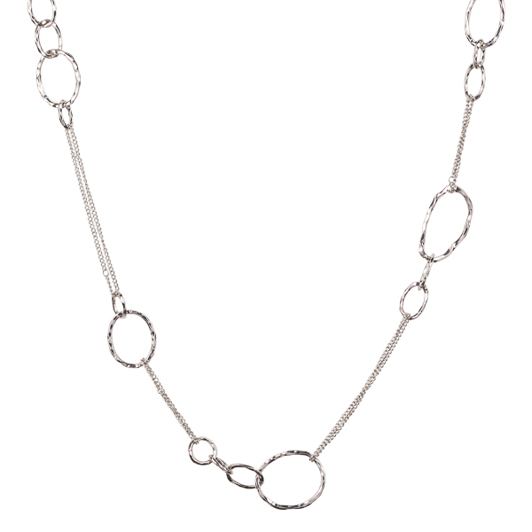 Mia and Tess Hammered Silver Rings Necklace