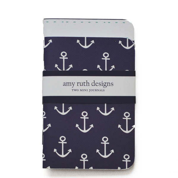 Amy Ruth Designs Anchors Mini Journals (Set of 2)