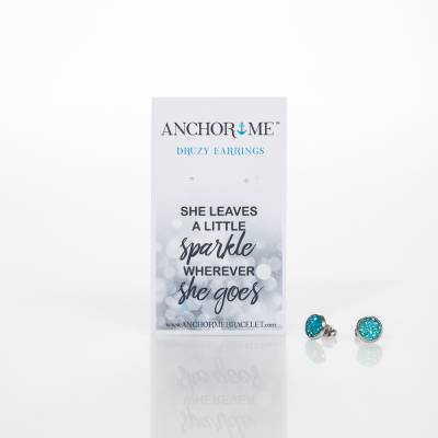 Turquoise Druzy Post Earrings