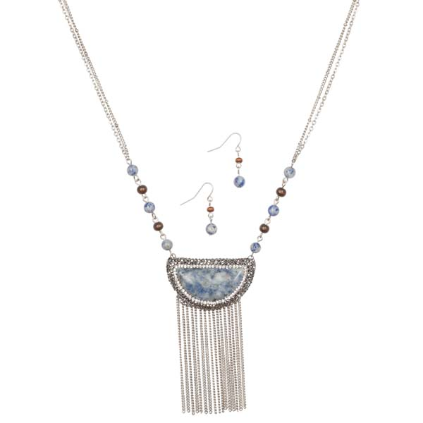 Mia and Tess Crystal Stone Necklace and Earrings Set