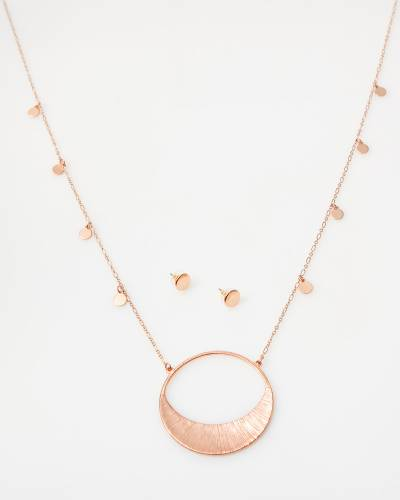 Exclusive Crescent Circle Necklace and Earrings Set in Rose Gold