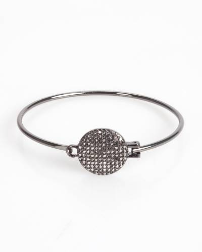 Exclusive Pave Disc Bangle in Hematite