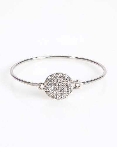 Exclusive Pave Disc Bangle in Silver