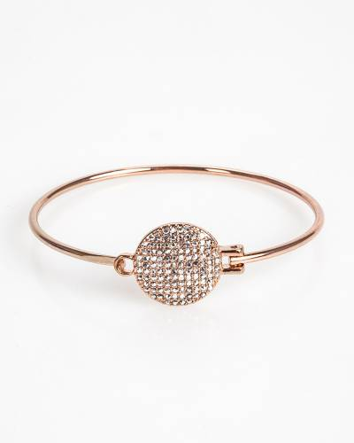 Exclusive Pave Disc Bangle in Gold