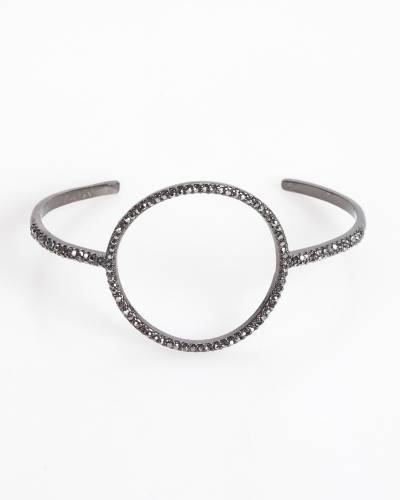 Exclusive Pave Circle Bangle in Hematite