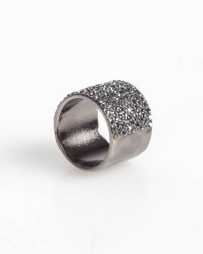 Exclusive Wide Pave Ring in Hematite