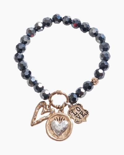 Exclusive Love Heart Beaded Bracelet in Black