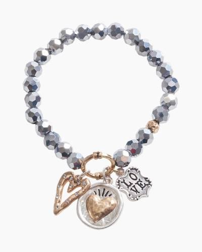 Exclusive Love Heart Beaded Bracelet in Silver