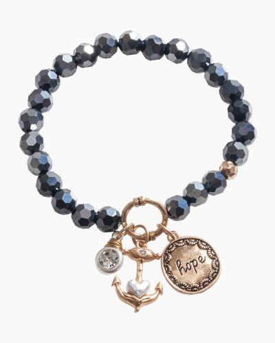 Exclusive Hope Anchor Beaded Bracelet in Black