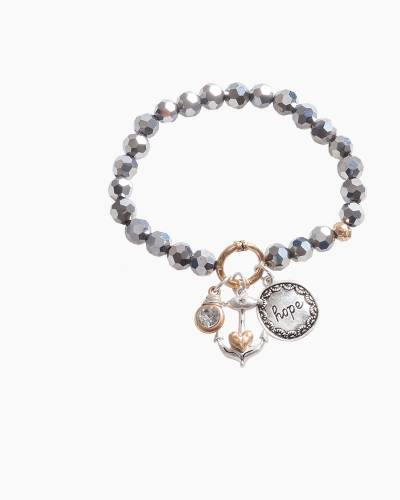 Exclusive Hope Anchor Beaded Bracelet in Silver