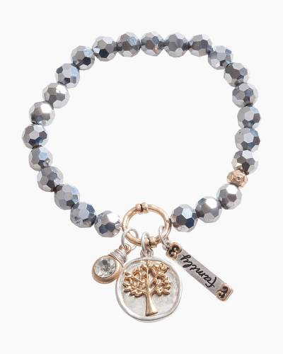 Exclusive Family Tree Beaded Bracelet in Silver