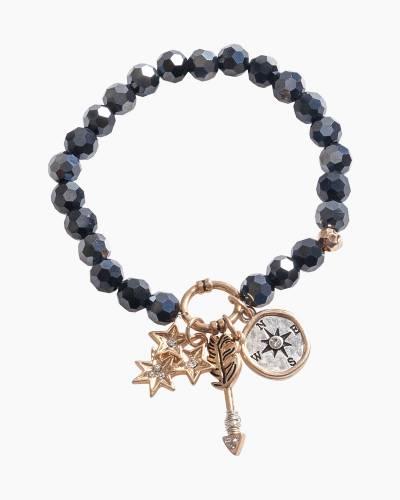 Exclusive Compass Beaded Bracelet in Black
