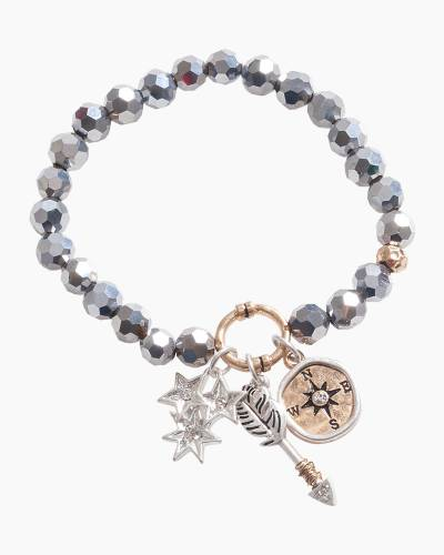 Exclusive Compass Beaded Bracelet in Silver