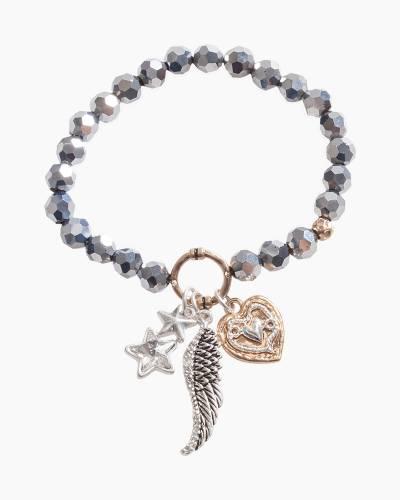 Exclusive Angel Wing Beaded Bracelet in Silver