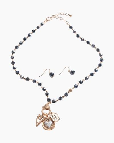Exclusive Love Heart Necklace and Earrings Set in Black