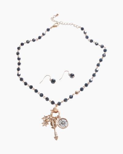 Exclusive Compass Necklace and Earrings Set in Black
