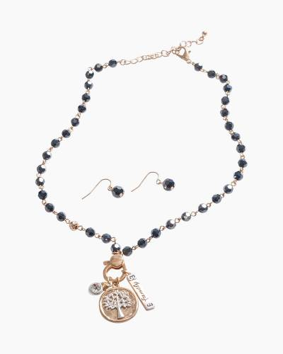 Exclusive Family Tree Necklace and Earrings Set in Black