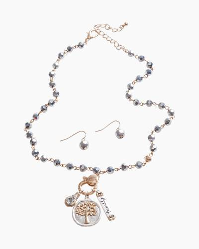 Exclusive Family Tree Necklace and Earrings Set in Silver