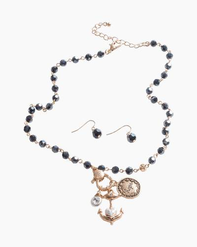 Exclusive Hope Anchor Necklace and Earrings Set in Black